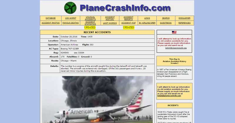Weird Plane Crash Website